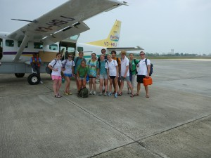 The gang with our lovely, teeny tiny puddle-jumper plane